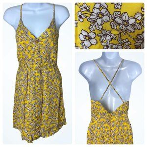 FavLux Yellow Floral Backless Sundress with Adjustable Straps, Small